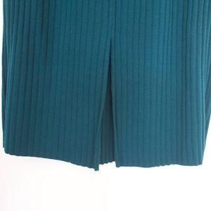 Karen Lessly Skirts - KAREN LESSLY Teal Knit Ribbed Midi Tube Skirt
